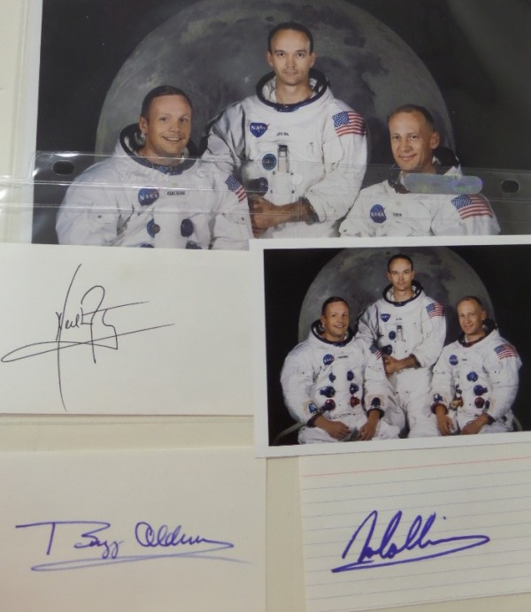 Coach's Corner - Apollo 11 crew signed 3x5 cards.