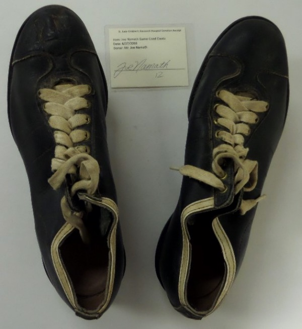 "This historic, museum worthy lot is a pair of well used cleats, right from ""Joe Willie's"" hand, and donated to St. Jude Hospital in 2003. A signed note accompanies, as does Jimmy Spence's lifetime hologram, and value is thousands!!! They look vintage 1969-70 or so, we sell here with NO reserve, and donation to Canton is in order for the lucky winner."