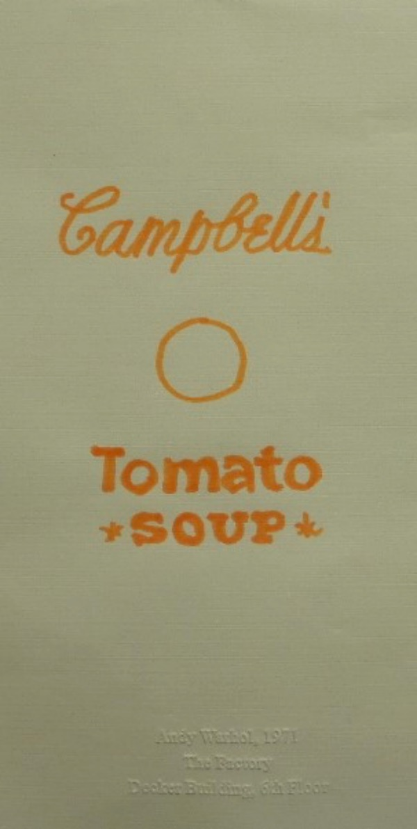 "This original piece is stamped and engraved from his ""Factory"", the NYC loft he used as his pop art studio for work, parties etc. It is dated from 1971 and is a simple piece of paper, that Warhol wrote on, in orange flair marker. It is a replica of his famous Campbell's Soup Can, and value here is thousands."